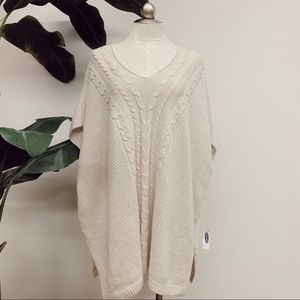Cable Knit Poncho Sweater NWT
